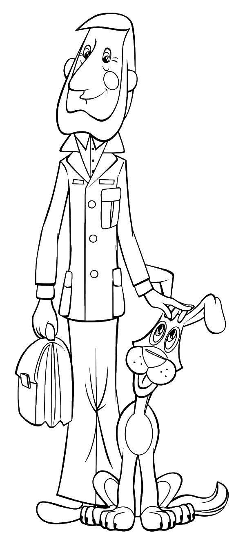 Раскраска Папа дяди федора и шарик. Скачать папа, шарик, собака, портфель.  Распечатать ,раскраски простоквашино,
