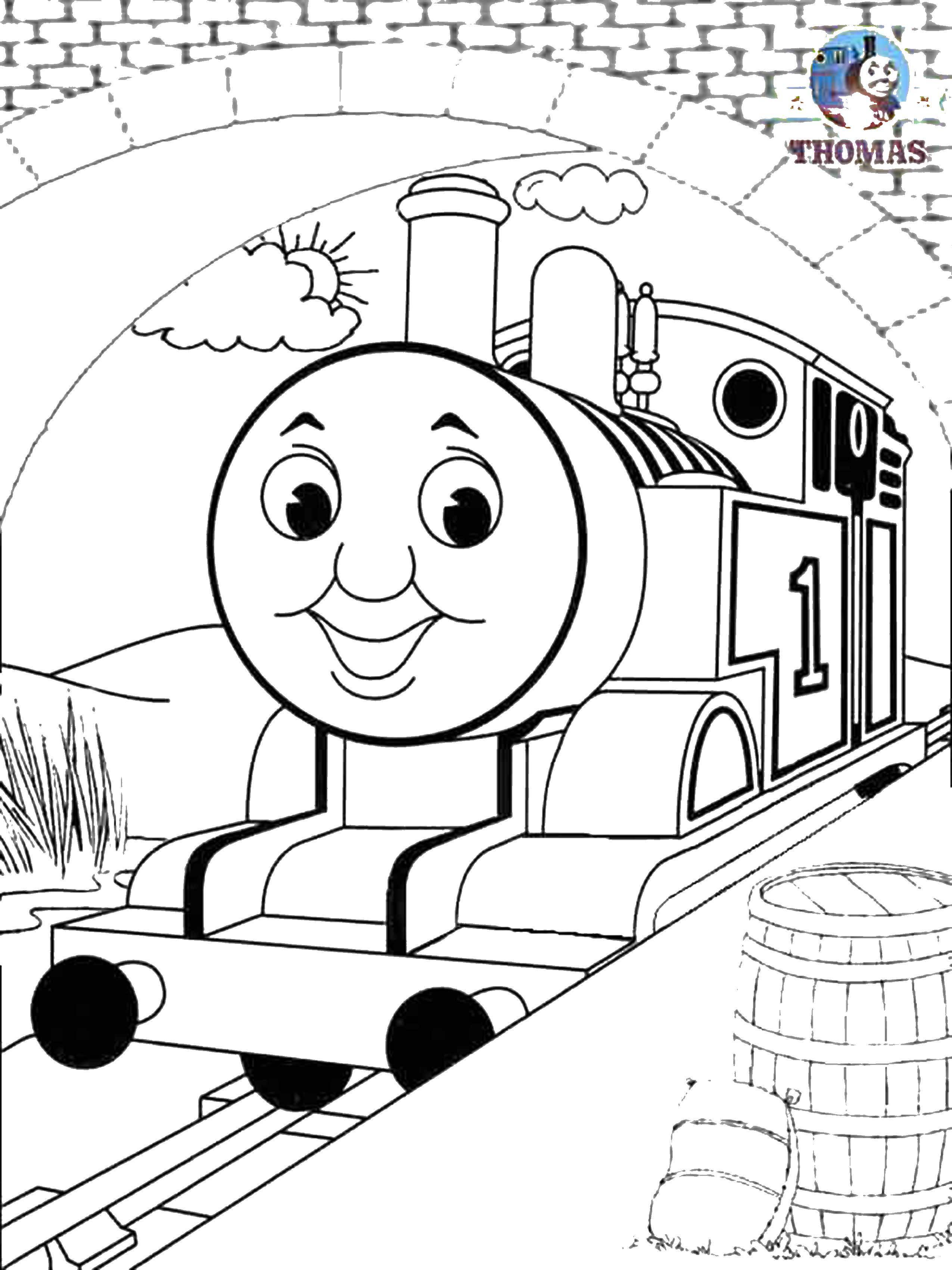 Раскраска Паровозик томас Скачать паровоз, Томас.  Распечатать ,поезд,