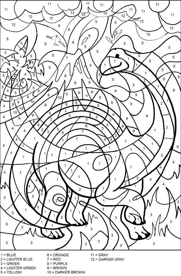 Раскраска Раскрась динозаврика по номерам Скачать по номерам, динозавр, динозаврик.  Распечатать ,По номерам,