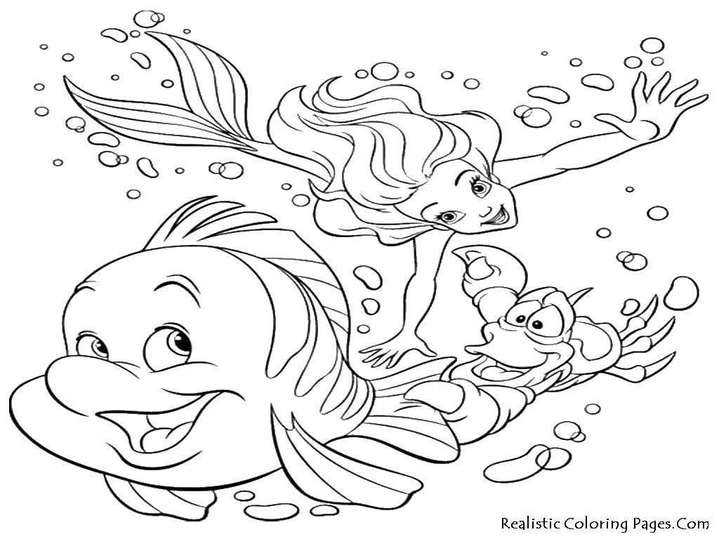 Раскраска Русалка и рыба с крабом Скачать ,русалка, рыба, краб,.  Распечатать