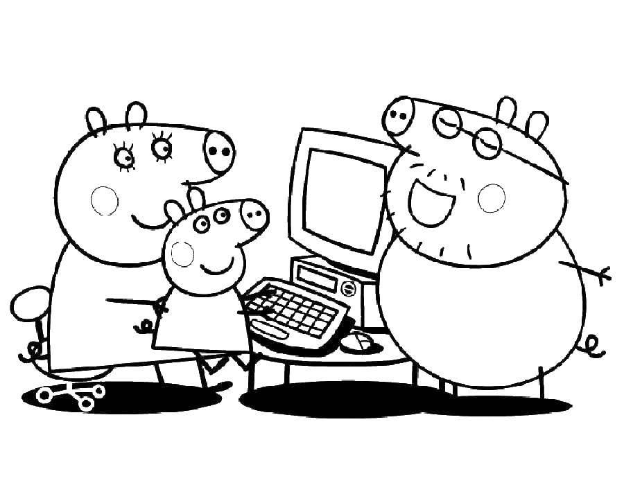 Раскраска Семья свинки пеппы купила компьютер Скачать Свинка Пеппа.  Распечатать ,моя семья из 4 человек,