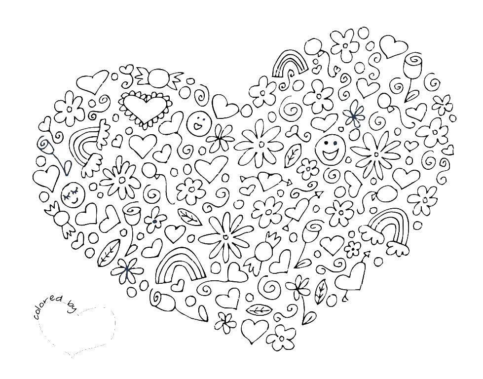 Раскраска Сердце Скачать узоры, сердца, сердечки.  Распечатать ,Узоры,