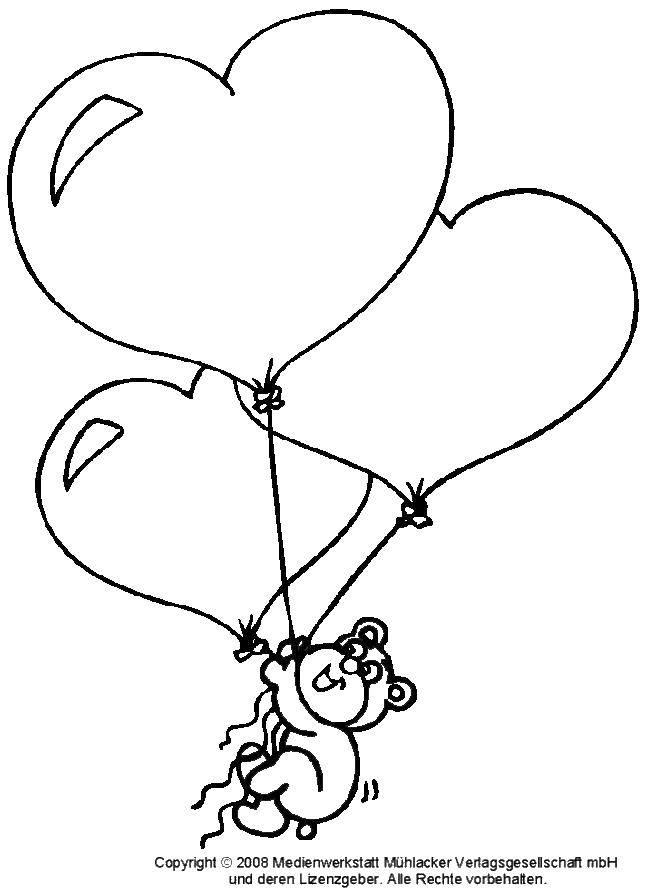 Раскраска Шары сердца. Скачать Воздушные шарики.  Распечатать ,воздушный шар,