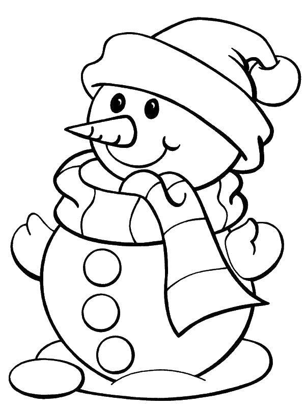 Раскраска Снеговичок.. Скачать снеговик, снеговечки, зима.  Распечатать ,снеговик,