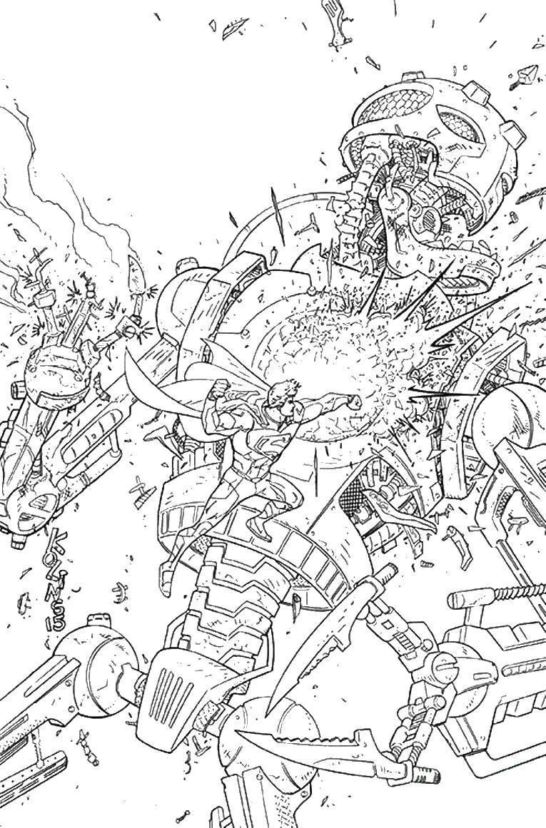 Раскраска Супергерой в сражении Скачать супергерой, супермен, сражение.  Распечатать ,супергерои,
