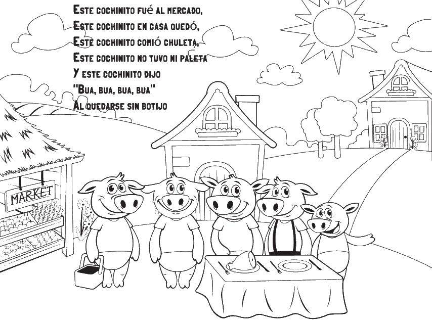 Раскраска Свинки. Скачать испанский язык, свинки.  Распечатать ,испанский язык,