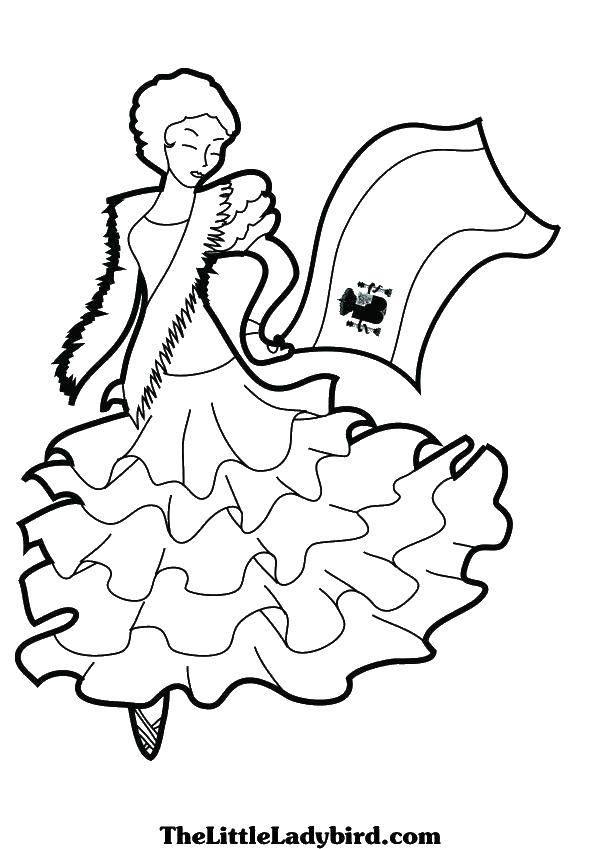Раскраска Танцующая девушка Скачать танцы, танец, девочка.  Распечатать ,Танцы,