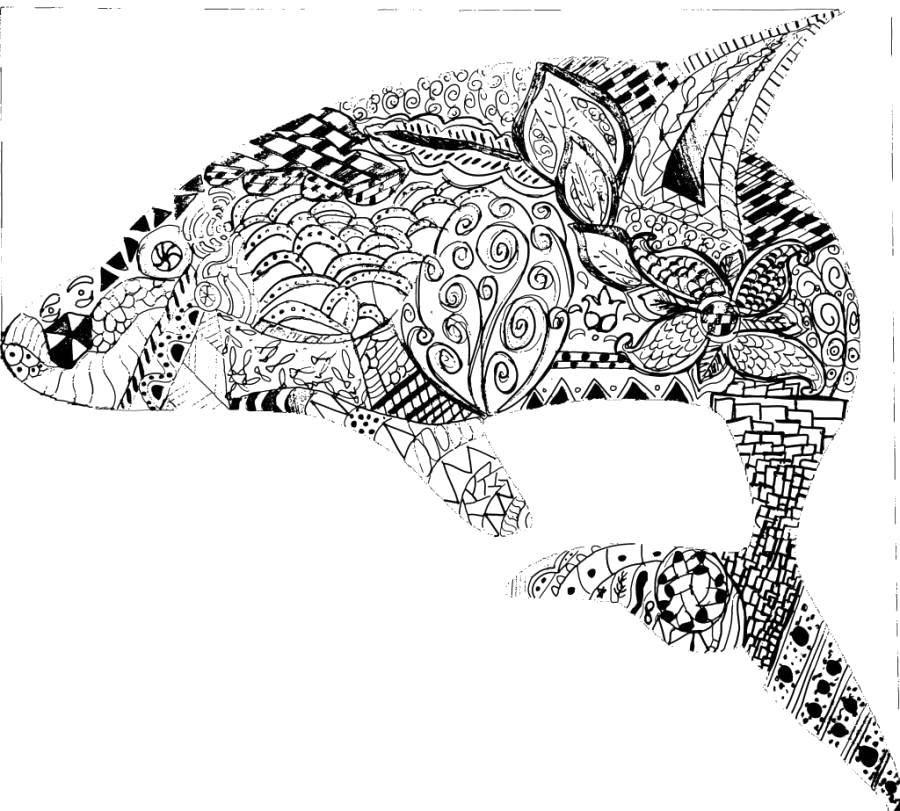 Раскраска Узорчатый дельфин Скачать Узоры, животные.  Распечатать ,Узоры,
