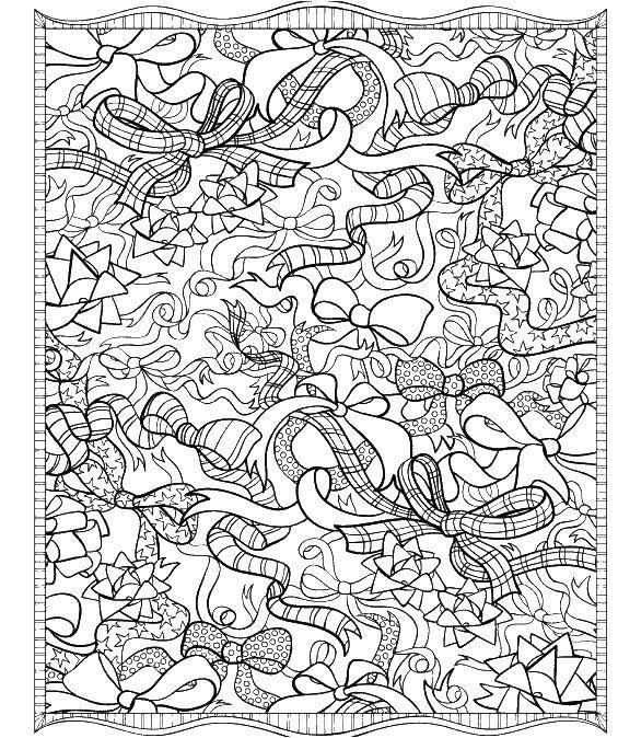 Раскраска Узоры из бантиков. Скачать бантики, узоры.  Распечатать ,бантики,