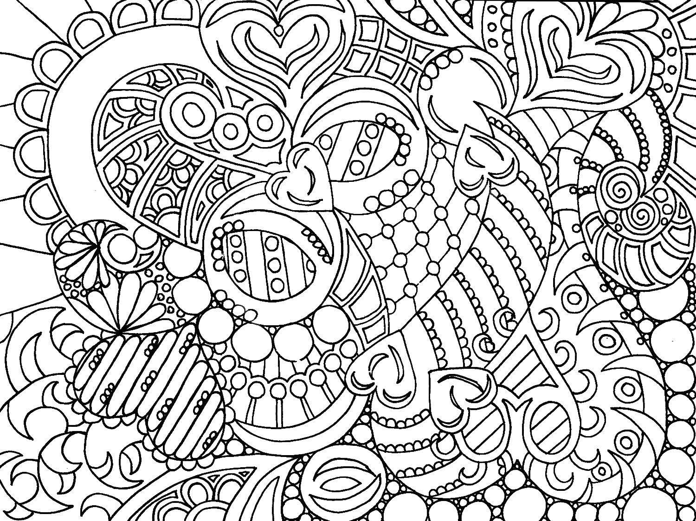 Раскраска Узоры с сердчеками Скачать узоры, сердечки, антистресс, узорчики.  Распечатать ,узоры,