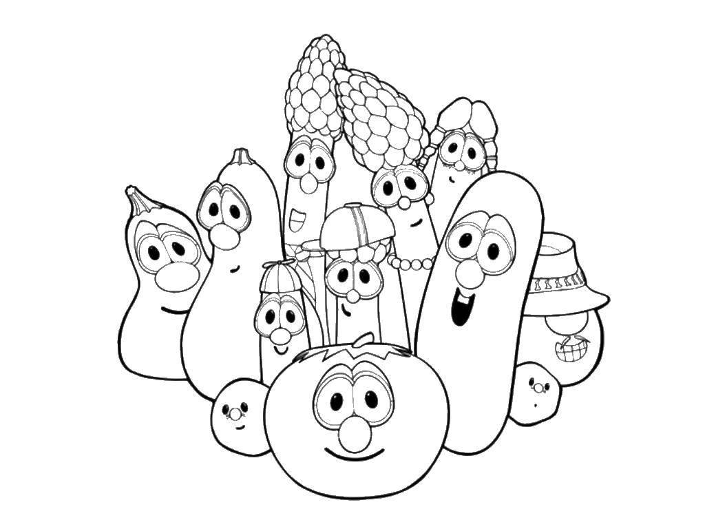 Раскраска Веселые овощи и фрукты Скачать Овощи, фрукты, ягоды.  Распечатать ,овощи,