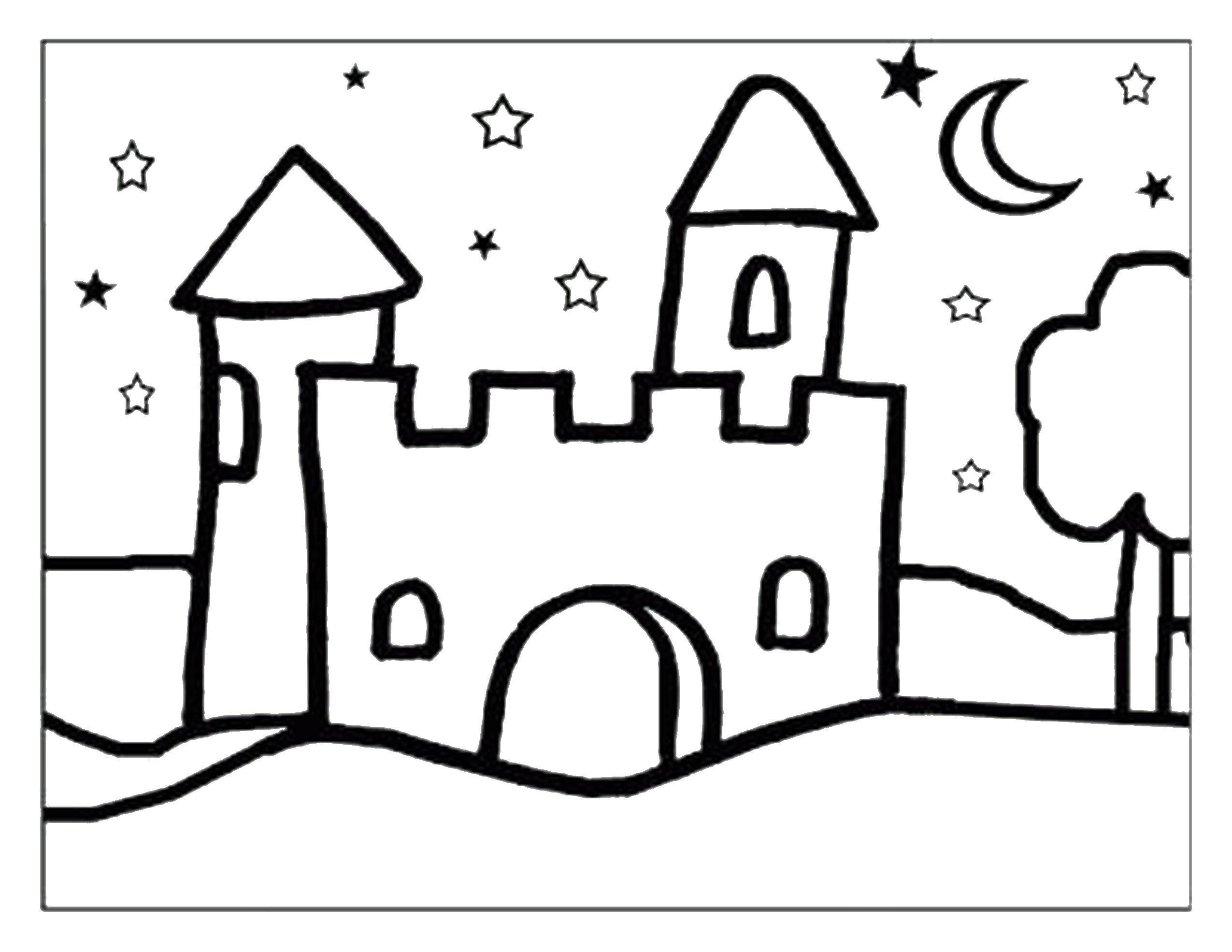 Раскраска Замок Скачать замок, ночь, здание.  Распечатать ,замки,