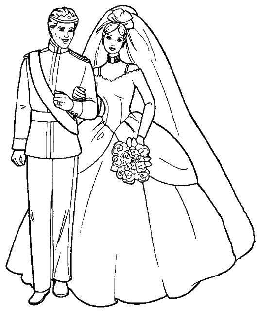 Раскраска Барби невеста и ее жених. Скачать барби, платье, жених, фата, букет.  Распечатать ,Свадьба,