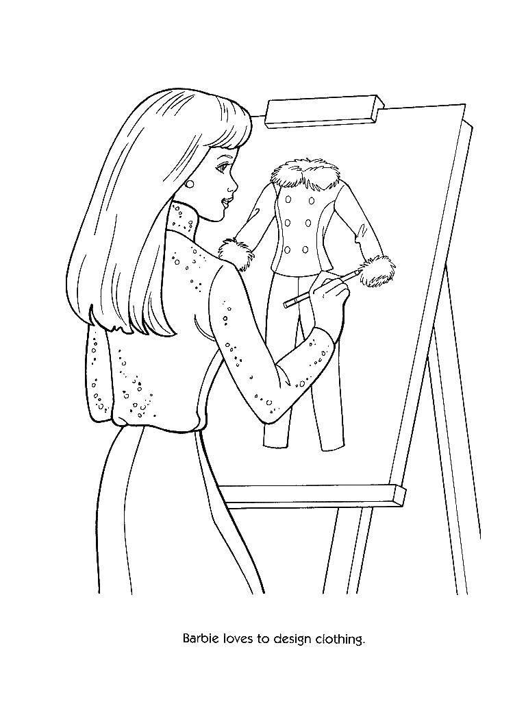 Раскраска Барби рисует костюм. Скачать барби, костюм, мольберт.  Распечатать ,Барби,