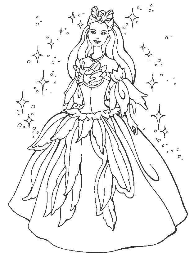 Раскраска Барби в платье принцессы. Скачать платье, корона, барби.  Распечатать ,Платья,