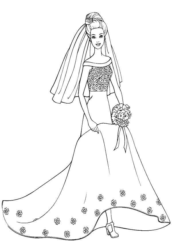 Раскраска Барби в свадебном платье. Скачать барби, платье, букет, фата.  Распечатать ,Платья,