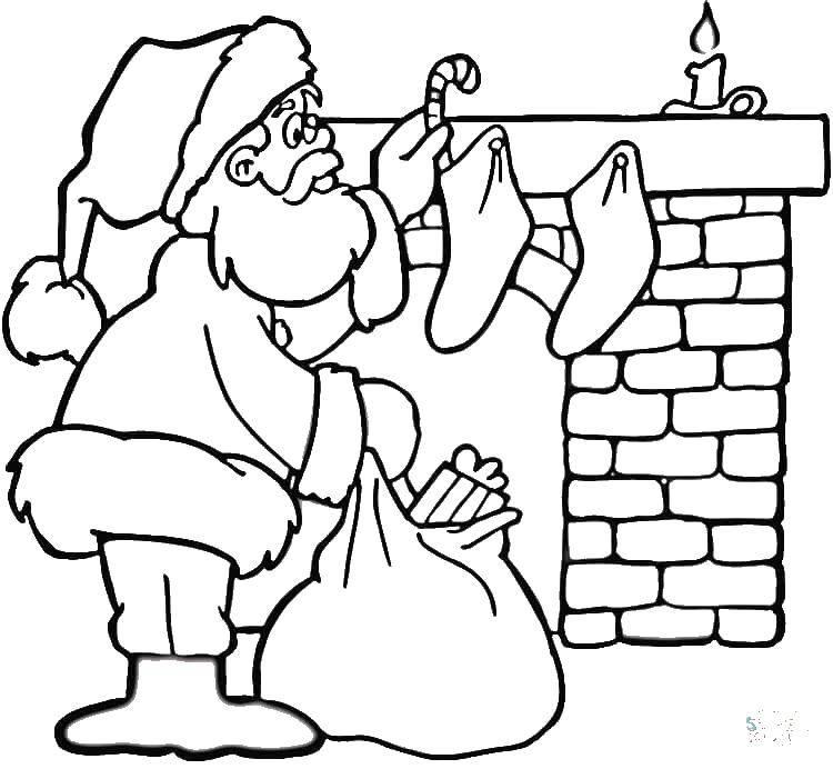 Раскраска Дед мороз и камин Скачать дед мороз, камин, мешок.  Распечатать ,Рождество,