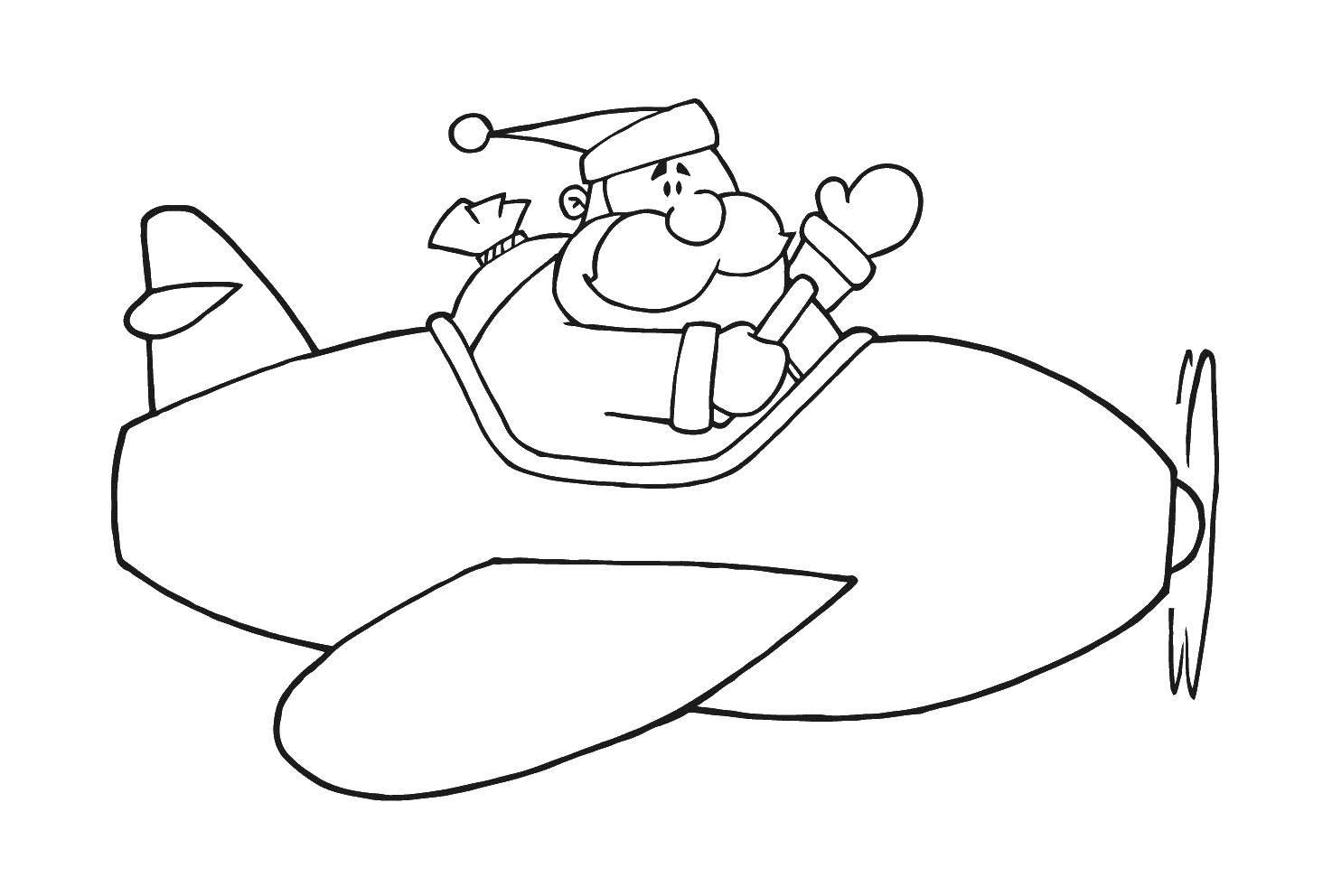 Название: Раскраска Дед мороз и самолет. Категория: Самолеты. Теги: самолет, дед мороз, мешок.
