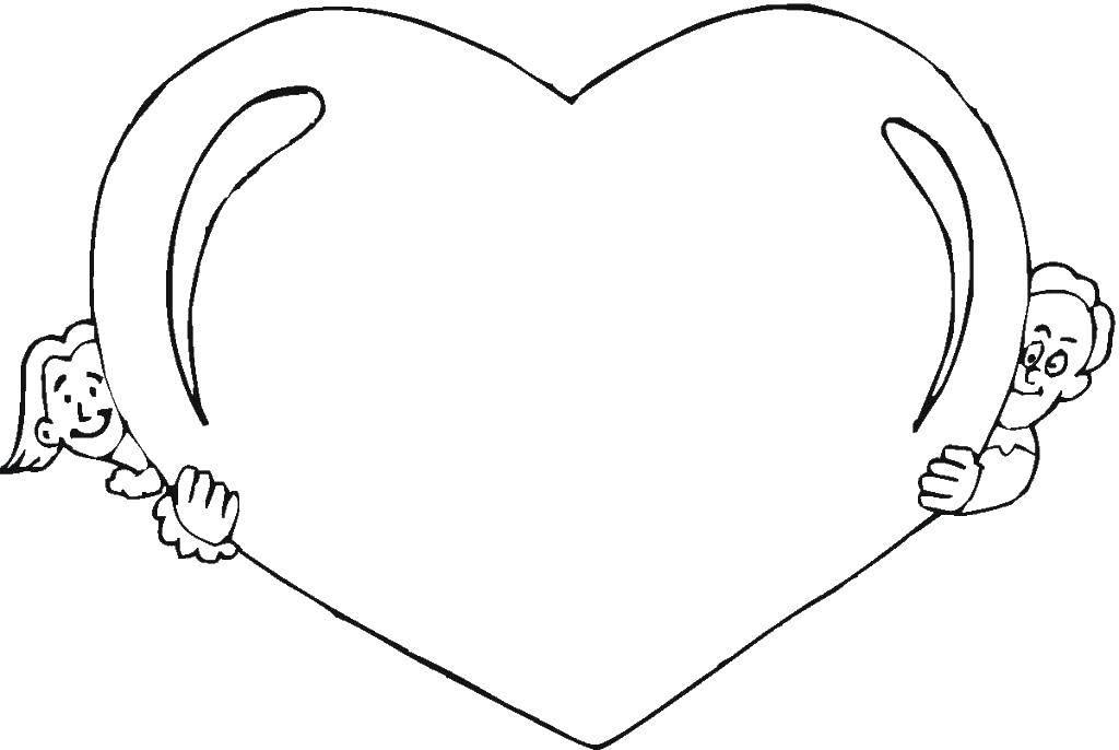 Раскраска Дети и сердце. Скачать мальчик, девочка, сердце.  Распечатать ,Сердечки,