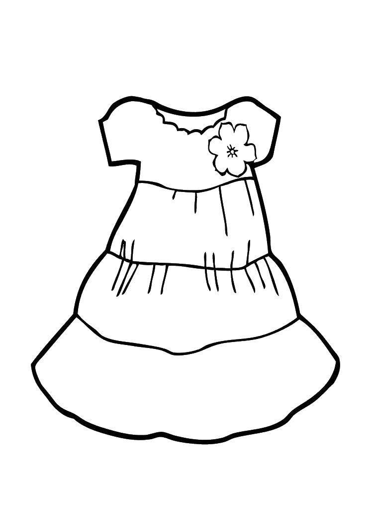 Раскраска Детское платье для девочки Скачать ,Одежда, платье,.  Распечатать