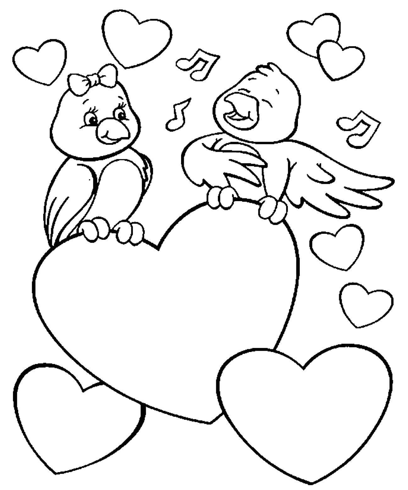 Раскраска Две птички и сердечки Скачать птички, сердечки, ноты.  Распечатать ,Я тебя люблю,