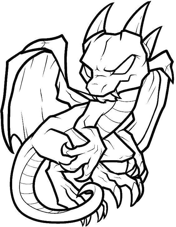 Раскраска Грозный древний дракон Скачать Драконы.  Распечатать ,Драконы,