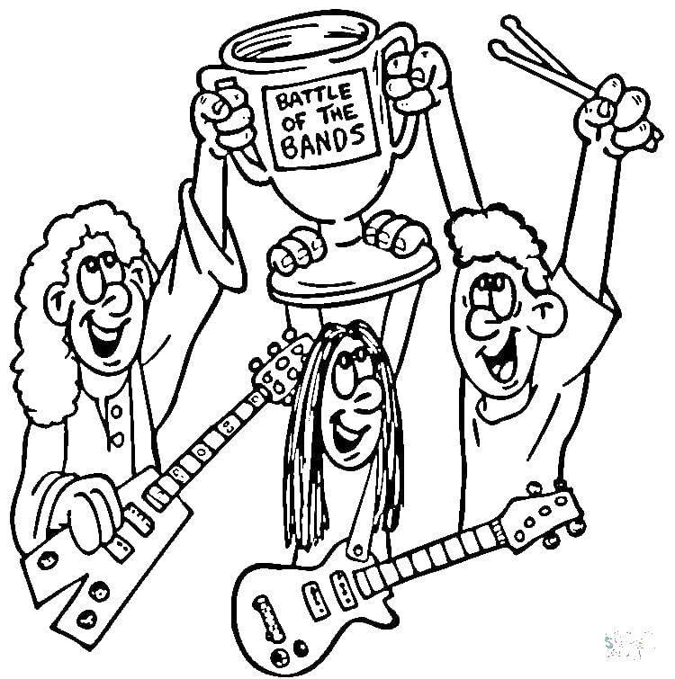 Раскраска Конкурс между групп Скачать Музыка, инструмент, музыкант, ноты.  Распечатать ,Музыка,