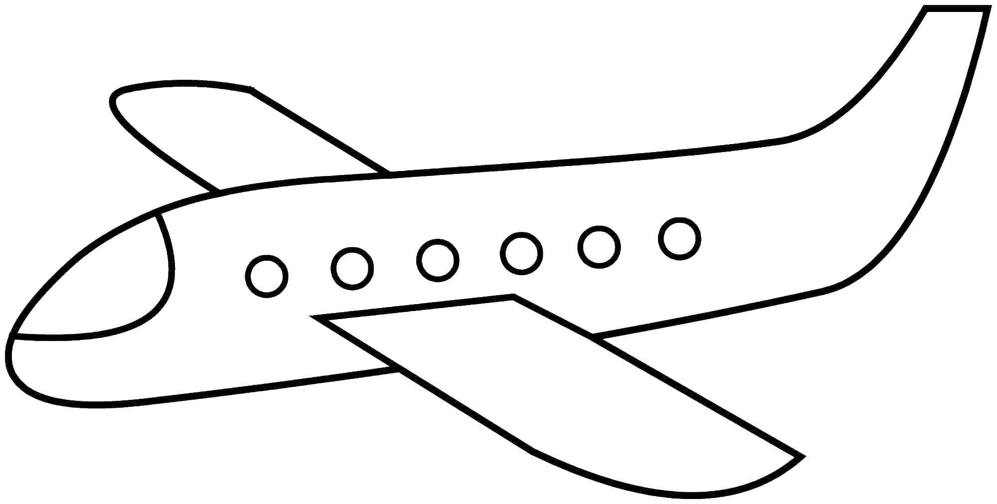 Раскраска Контур самолета Скачать самолет, крыло, окна.  Распечатать ,Самолеты,