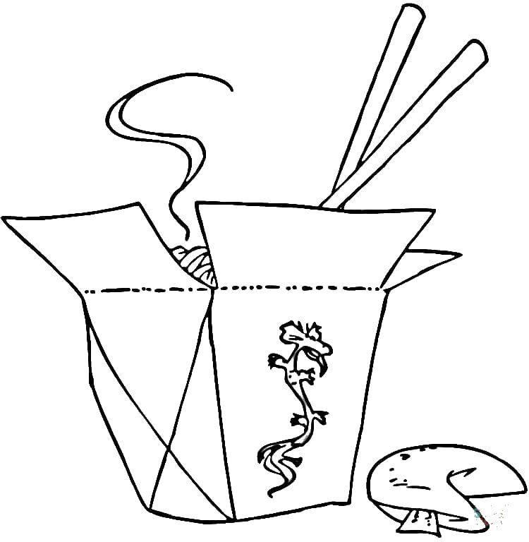 Раскраска Коробочка с китайской едой и палочки. Скачать китайская еда, палочки, коробка.  Распечатать ,еда,