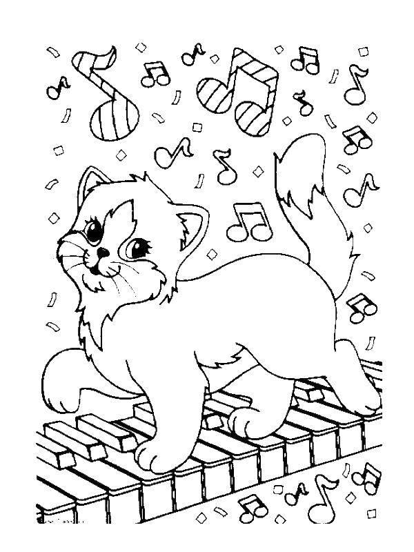 Раскраска Кошка на пианино Скачать кошка, пианино, мелодия.  Распечатать ,Музыка,