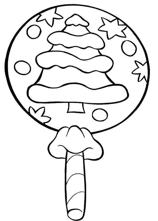 Раскраска Леденец с елочкой Скачать леденец, елка, звездочки.  Распечатать ,Рождество,