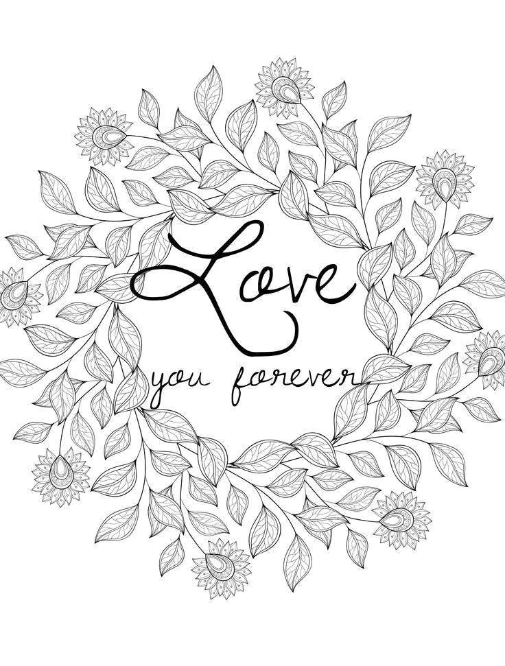 Раскраска Люблю тебя навсегда Скачать Признание, любовь.  Распечатать ,Я тебя люблю,