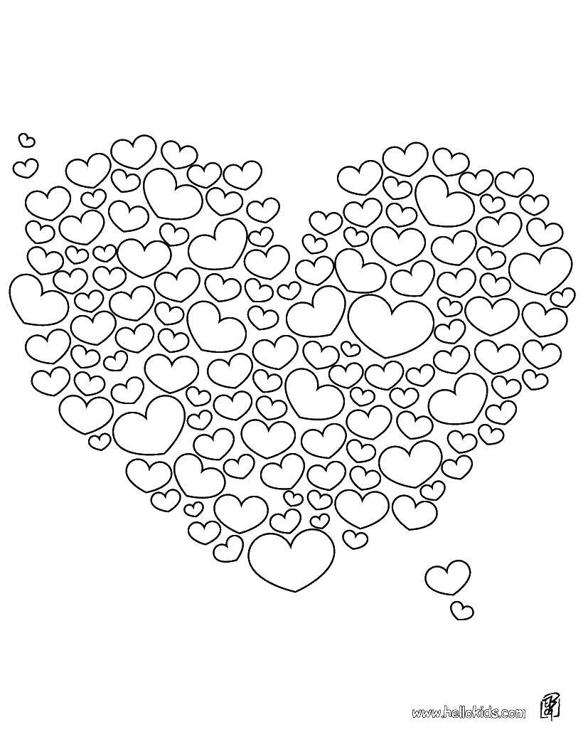 Раскраска Маленькие сердечки в большое сердце Скачать Сердечко, любовь.  Распечатать ,Я тебя люблю,