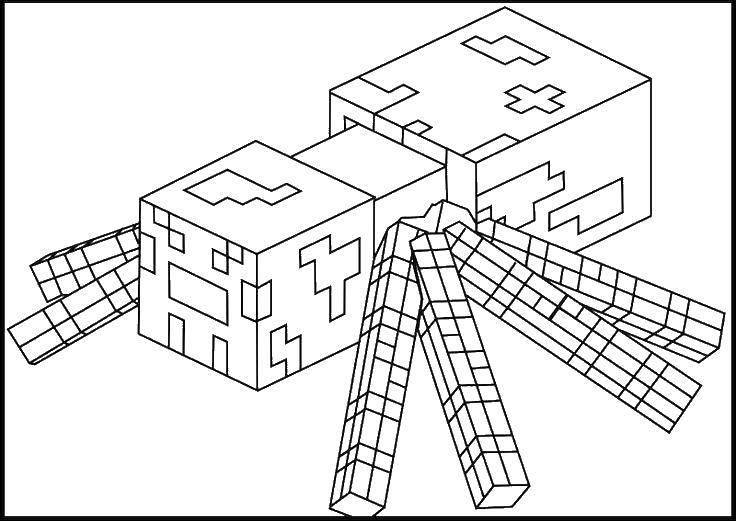 Раскраска Майнкрафт, паук Скачать Игры, Майнкрафт.  Распечатать ,Маинкрафт,