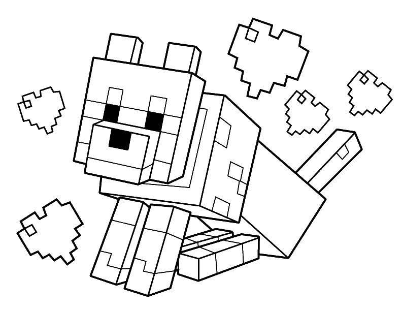 Раскраска Майнкрафт влюбленная собака Скачать Игры, Майнкрафт.  Распечатать ,Маинкрафт,