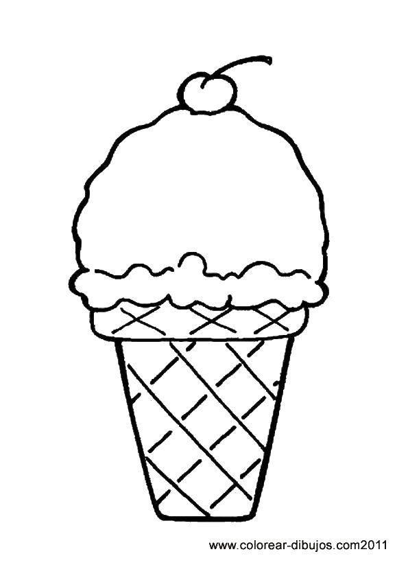 Раскраска Мороженое в стакане с вишенкой Скачать мороженое, стаканчик, вишенка.  Распечатать ,мороженое,