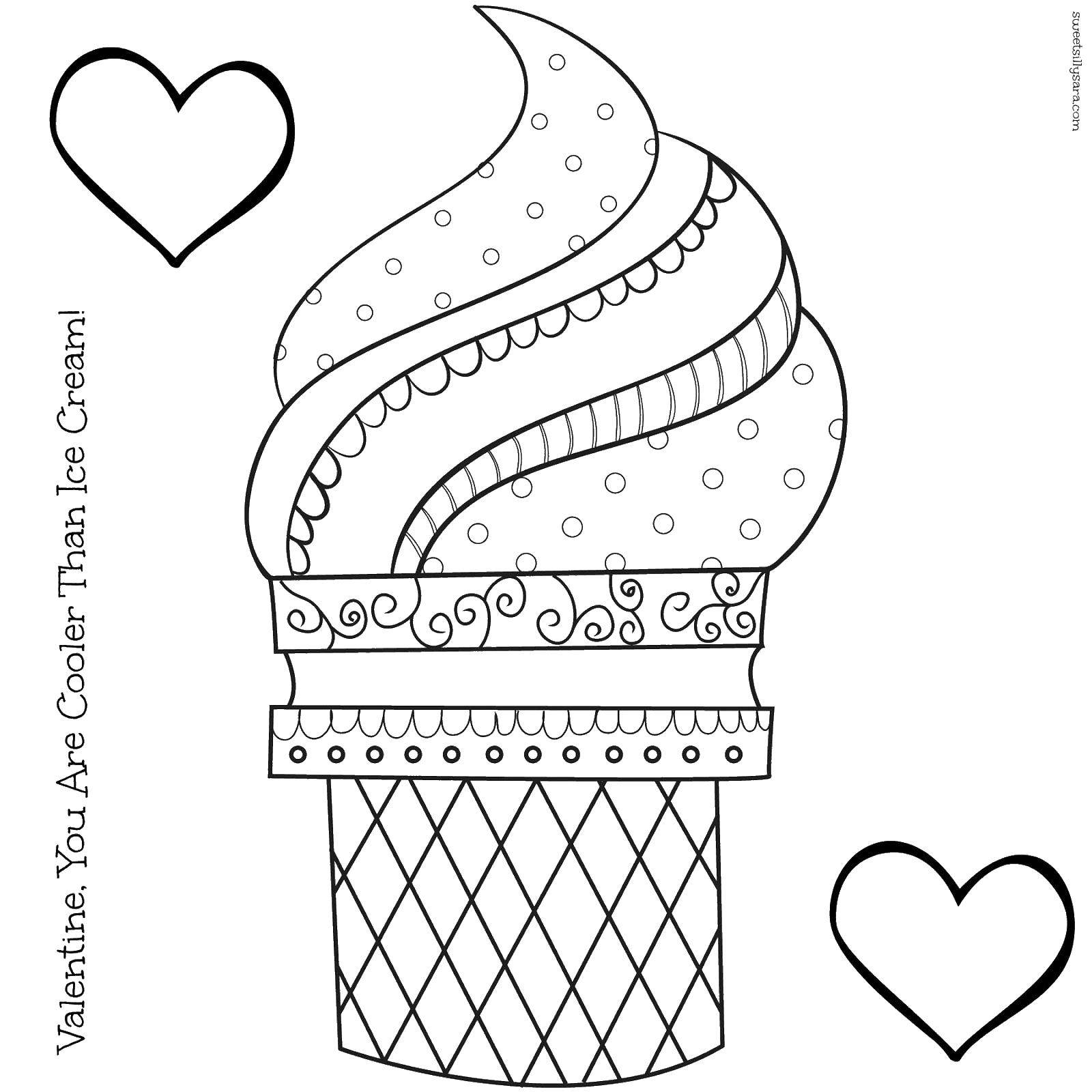 Раскраска Мороженое в стакане Скачать мороженое, стакан, сердечки.  Распечатать ,мороженое,