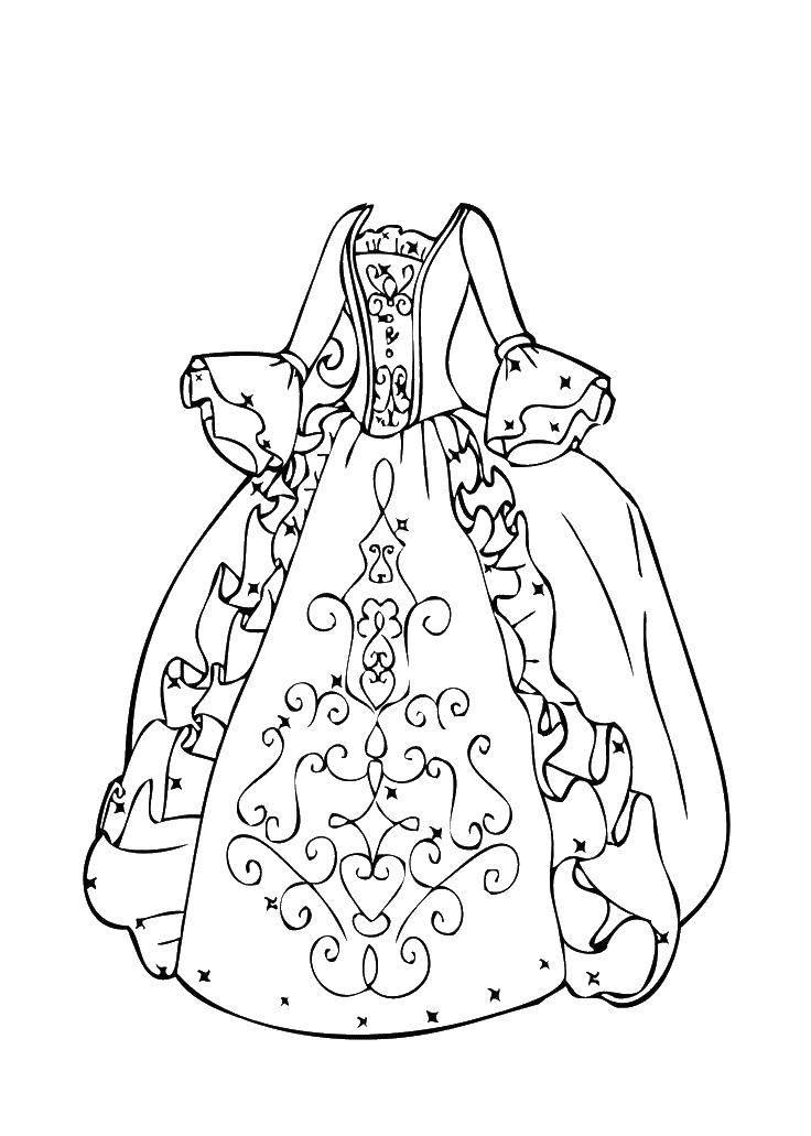 Раскраска Платье королевы Скачать ,платье, воланы, рукава,.  Распечатать