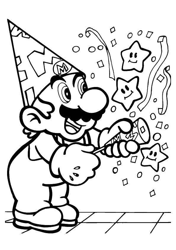 Раскраска Праздник у марио Скачать Игры, Марио.  Распечатать ,Персонаж из игры,