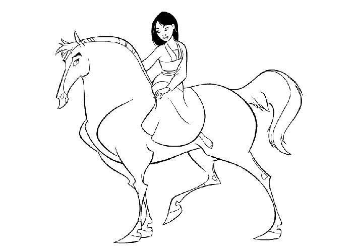 Раскраска Принцесса на коне. Скачать принцесса, конь.  Распечатать ,принцесса,