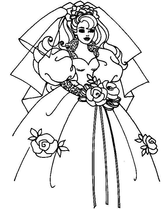 Раскраска Пышное платье для свадьбы Скачать Одежда, платье.  Распечатать ,Платья,