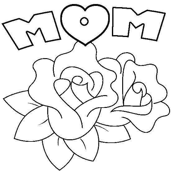 Раскраска Роза для мамы. Скачать Признание, любовь.  Распечатать ,Я тебя люблю,