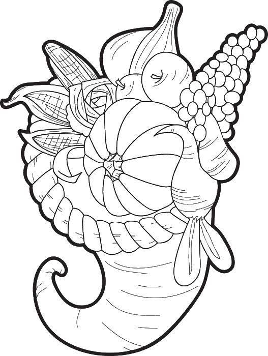 Раскраска Рожок с овощами Скачать рожок, тыква, кукуруза, лук.  Распечатать ,Кукуруза,