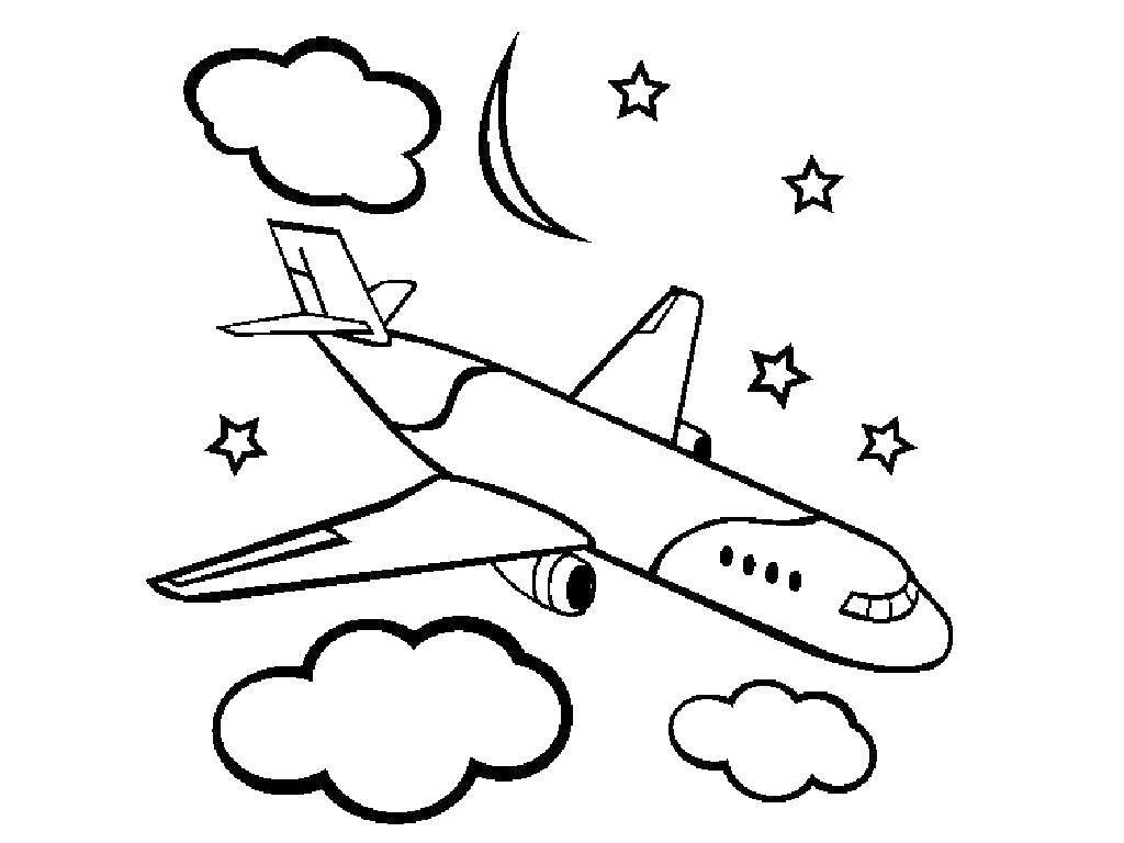 Название: Раскраска Самолет и звезды. Категория: Самолеты. Теги: самолет, облако, звезды.