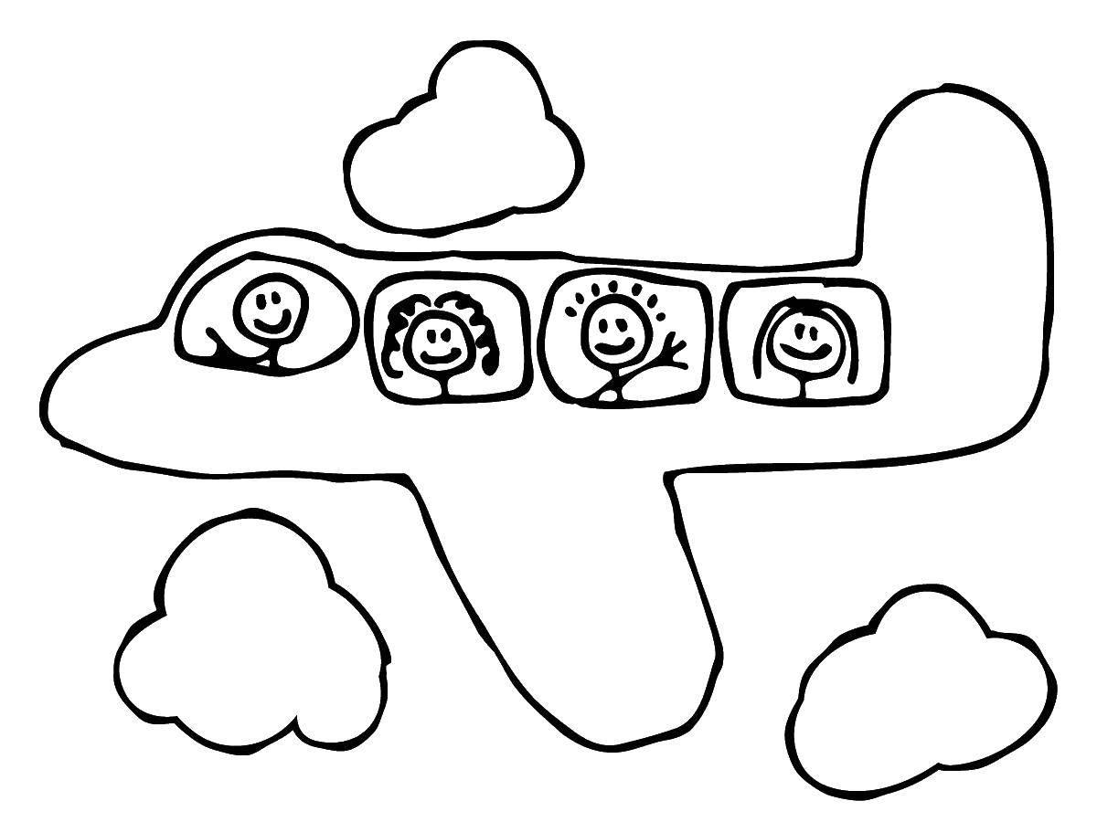 Название: Раскраска Самолет с людьми. Категория: Самолеты. Теги: самолет, облака, люди.