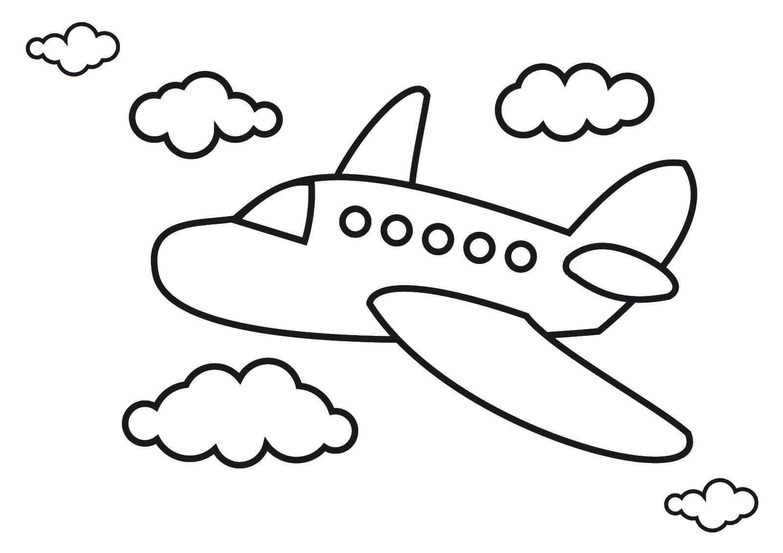 Раскраска Самолёт и облачка Скачать Самолёт.  Распечатать ,Самолеты,