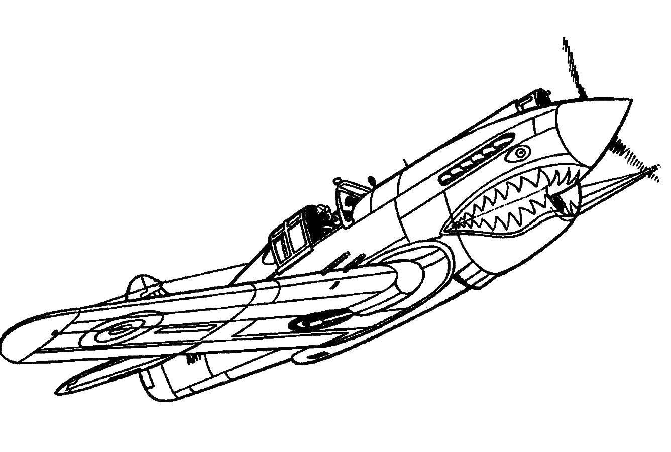 Название: Раскраска Самолётик со злобным ртом. Категория: Самолеты. Теги: Самолёт.