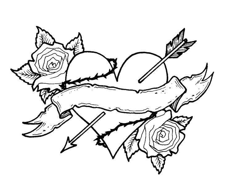 Раскраска Сердце и стрела с розами. Скачать сердце, стрела, роза.  Распечатать ,Сердечки,