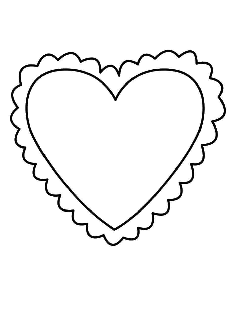 Раскраска Сердце в кружевах. Скачать Сердечко, любовь.  Распечатать ,Сердечки,