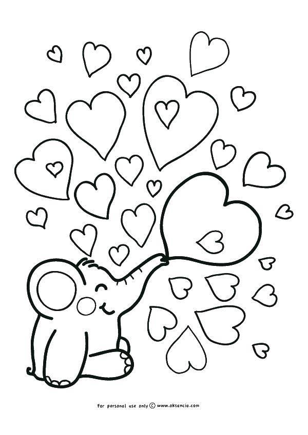 Раскраска Слоник пускает сердечки Скачать Признание, любовь.  Распечатать ,Я тебя люблю,